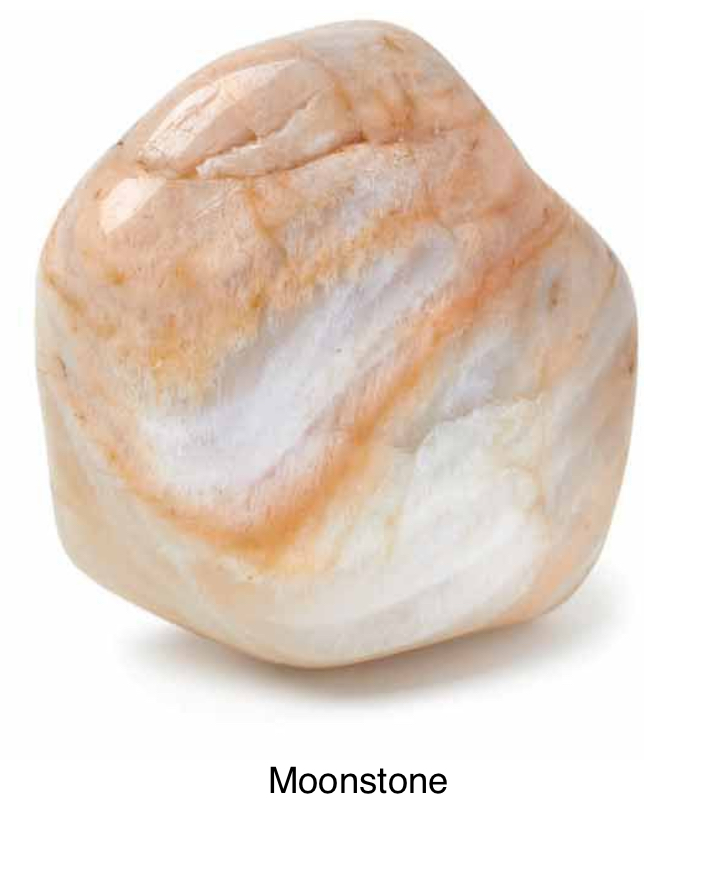 Moonstone - Like the moon, this stone is reflective and reminds you that everything is part of a cycle and change, lessening a tendency to overreact emotionally. A stone of new beginnings and is driven by the full moon. Filled with receptive passive female energy. Balances male and female energy.