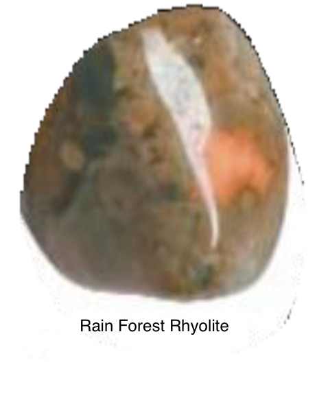Rain Forest Rhyolite - Bringing acceptance to past and present relationships. Helps one walk through life not regretting the past and helps one have the calmness needed to walk through situations that may not be comfortable. Sparks creativity energies to help you break through barriers that may be holding you back. Carries a joyful and happy energy that brings hope.