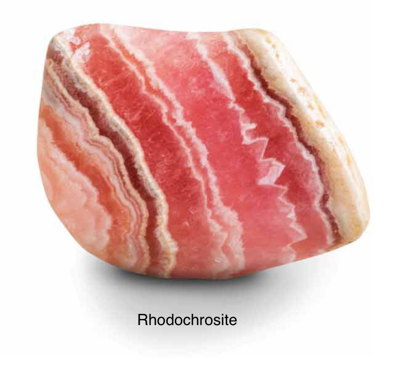 Rhodochrosite - Representing selfless love & compassion. Expands consciousness and integrates spiritual with material energies. Excellent for the heart & relationships. Insists that you face the truth about yourself and others.