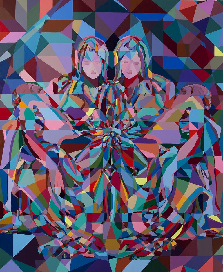 "Double Pieta 2 | 72"" x 59"" | Acrylic on Canvas | 2014"