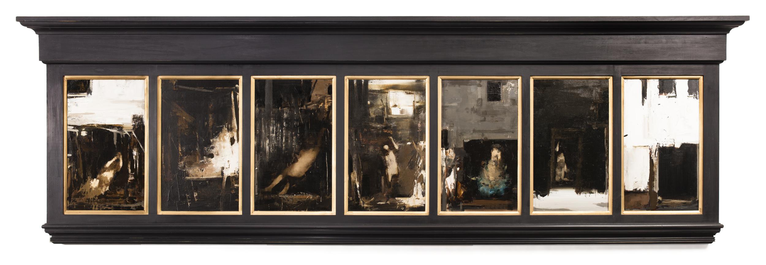 "Peccata Mortalia,  2015  | 11"" x 22"" (each) - 34"" x 107"" (framed)| Seven oils on varied supports"