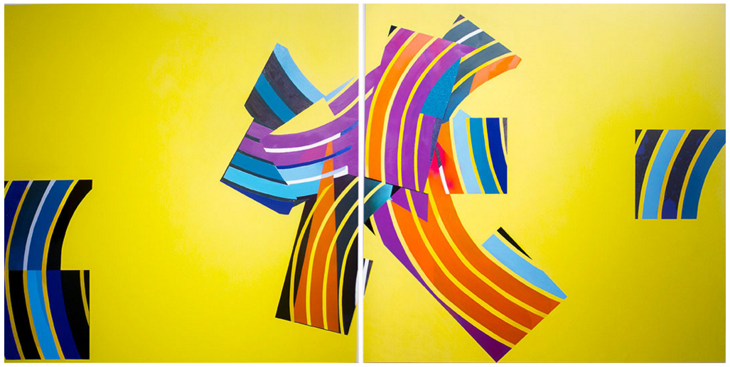 "Leaving on a Jet Plane , 2016, Spray Paint, Enamel, Acrylic, Cement, Roofing Paint on Aluminum, 48"" x 96 "" ( 2 panels), Private Collection"