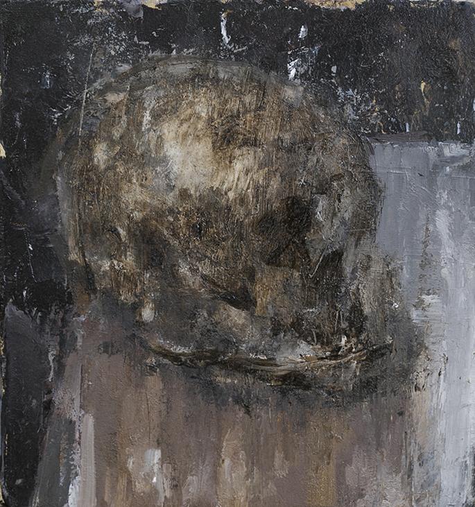 "Schkull | 8"" x 8""| Oil on paper | Private Collection"