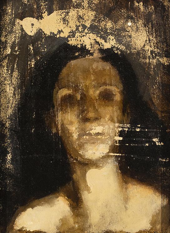 "Hope, 2015 | 5.5"" x 7"" | Oil & asphaltum on paper mounted to panel"