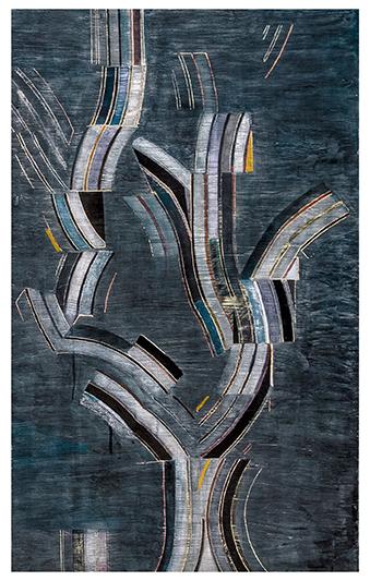 "IX (The Night Seer) , 2016 |Plaster, enamel, dye, concrete, colored pencil & oxides on aluminum |48"" x 30"""