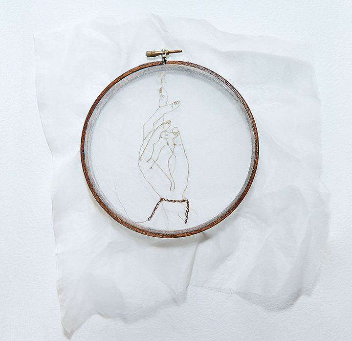 "Blessing , 2016 | Human hair on silk organza in wooden embroidery hoop | 11"" x 10"""