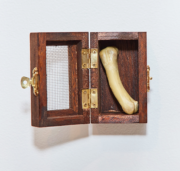 "Bone Box , 2016 | Wood, brass, bone, beeswax | 3.5"" x 2.25"" x 3.5"""