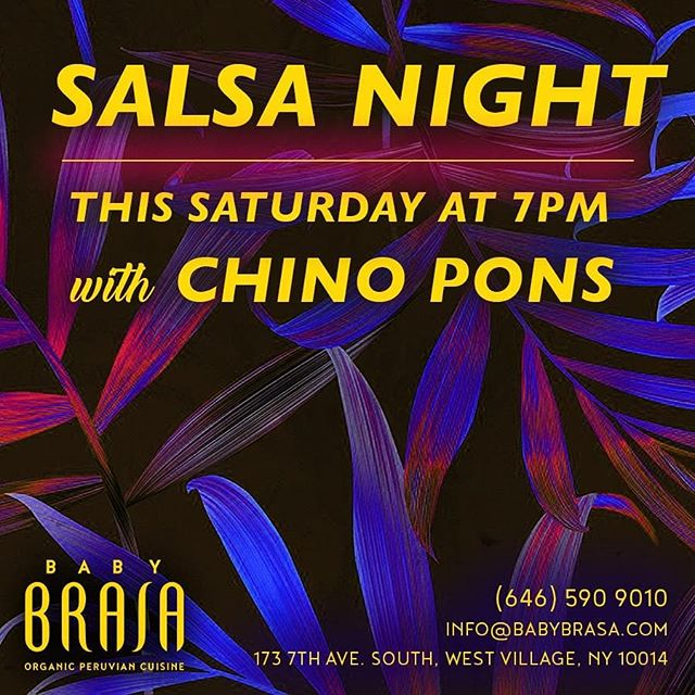 Saturday , from 7pm to 10pm. Chino Pons and Grupo Irek
