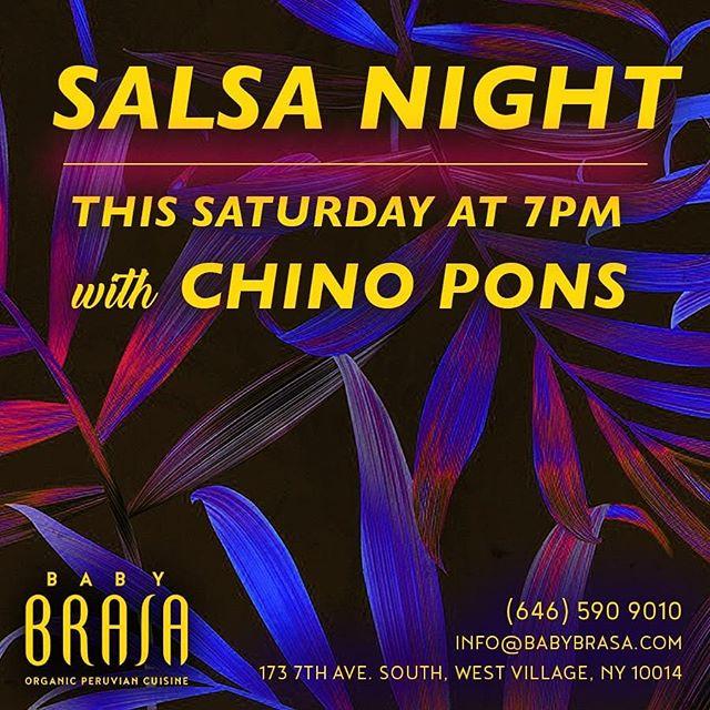 Saturday , from 7pm to 10pm. Chino Pons and Grupo Irek