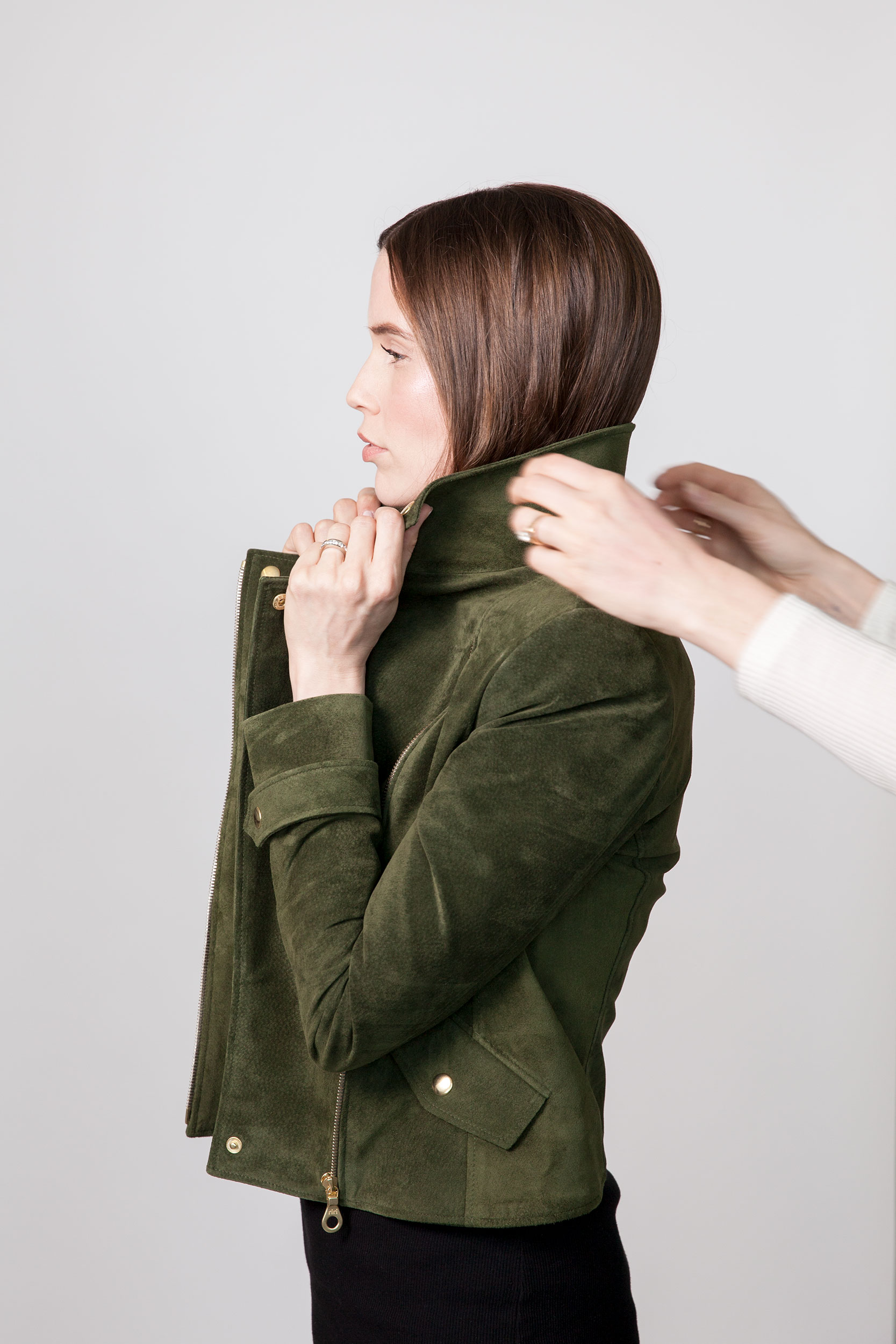 Sarah sneaks in for a collar adjustment