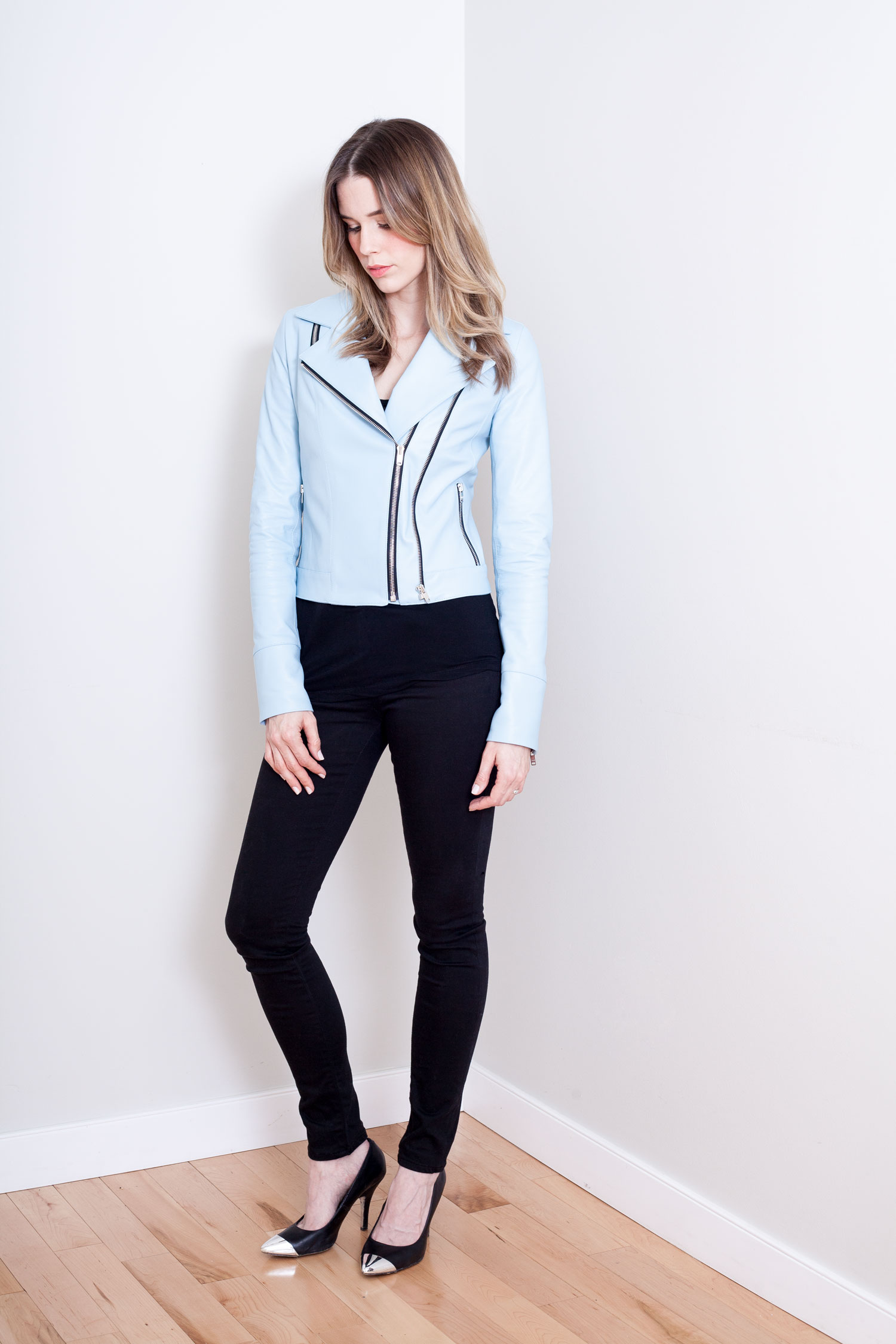 Powder Blue Motorcycle Jacket Front View Zipped.jpg