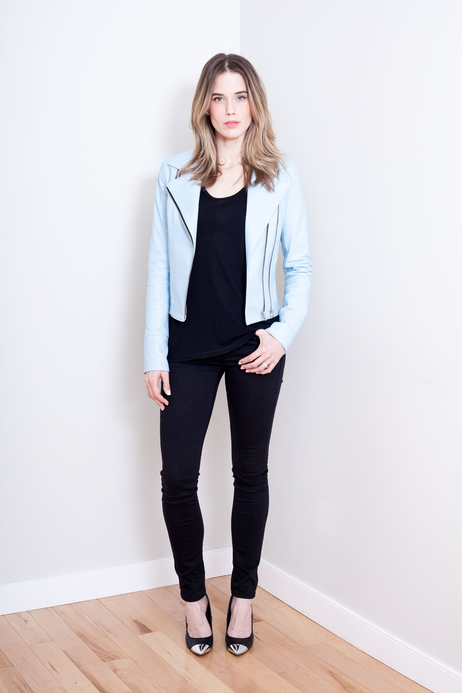 Powder Blue Motorcycle Jacket Front View Unzipped.jpg