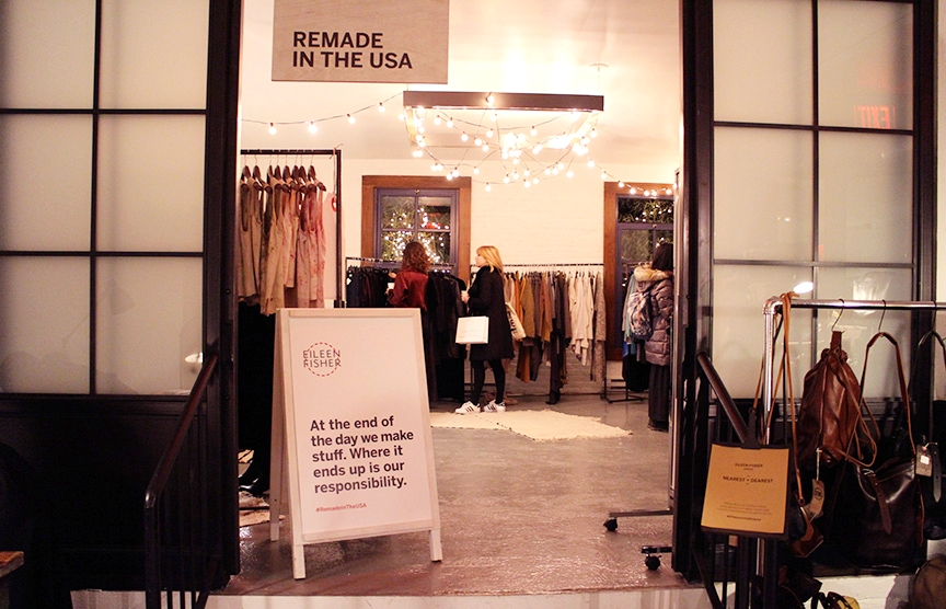 View into the EILEEN FISHER space where vintage EF and the Remade in the USA collection were sold.