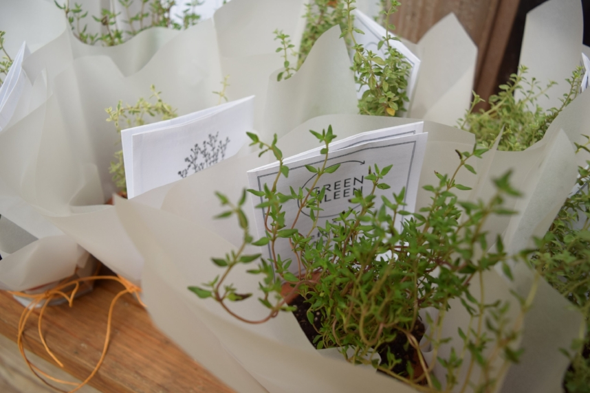 Each guest received a thyme plant complete with care instructions, born from a partnership with botanical creative agency,  Le Fleuriste