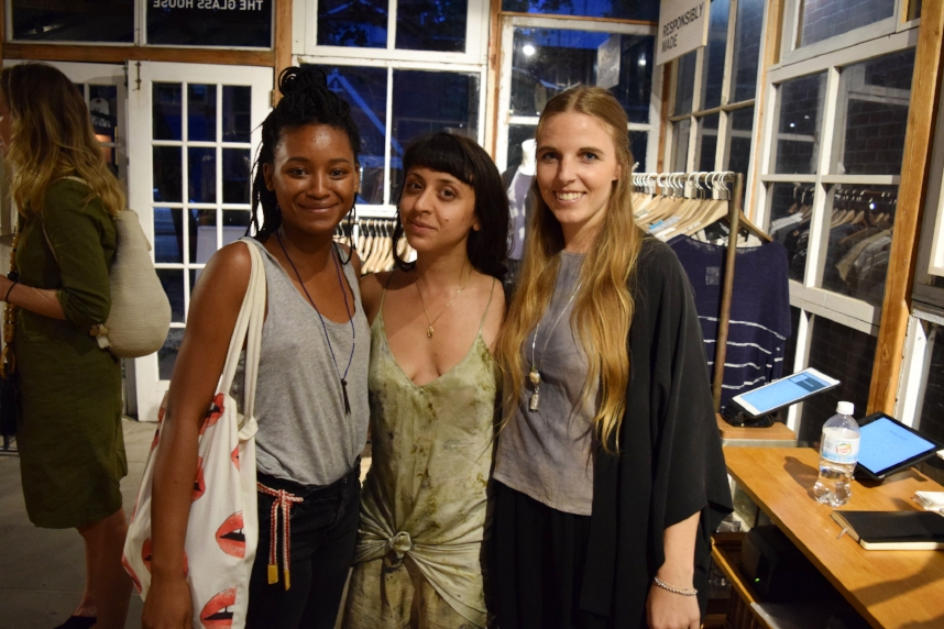 Natural and artisanal dyer,  Cara Marie Piazza  (middle) with CFDA/Remade In the USA designer,  Teslin Doud  (right)