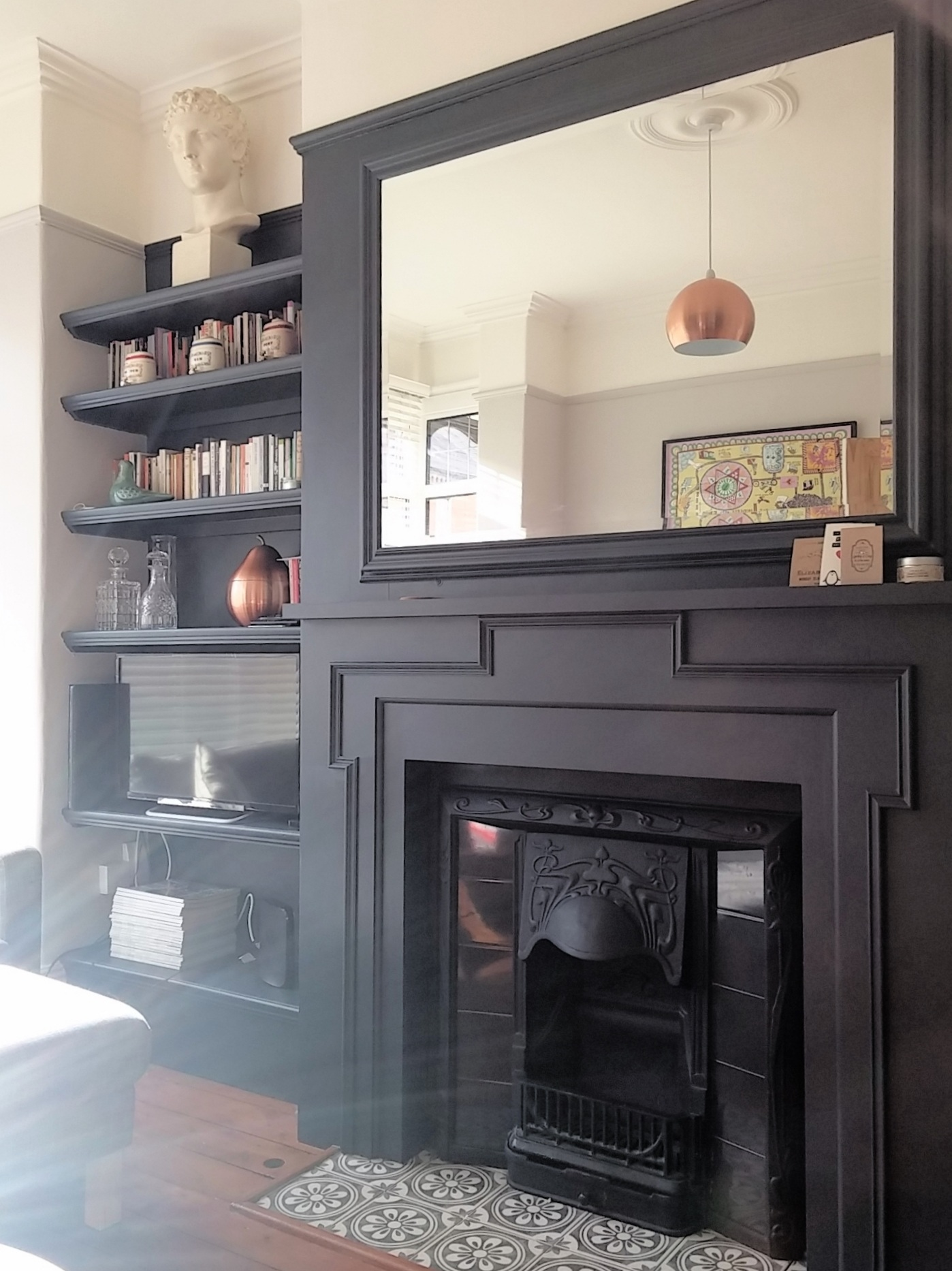 Living Room Shelving and Custom Fire Surround
