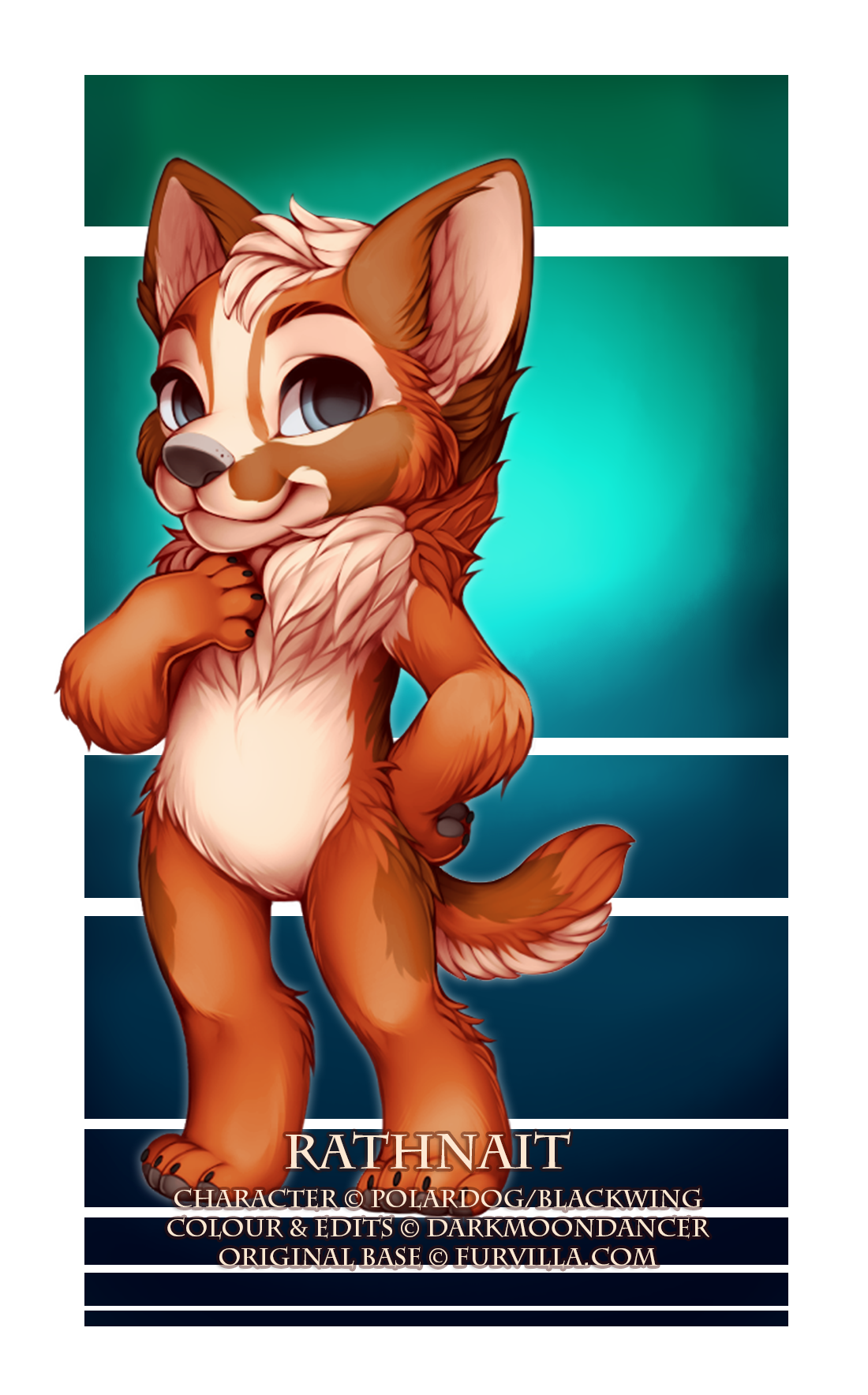 This cutie is Rathnait, owned by Polardog/Blackwing. I had a lot of fun colouring her as well as editting her ears, headfluff and tail!