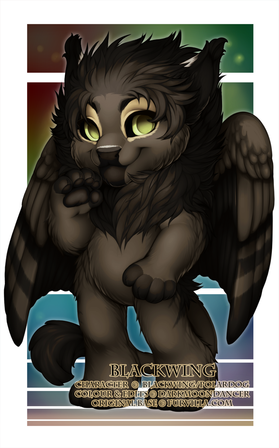This is Blackwing (c) Blackwing/PolarDog, and I got to do the colours as well as edit in the ears, nose, tail and wings!
