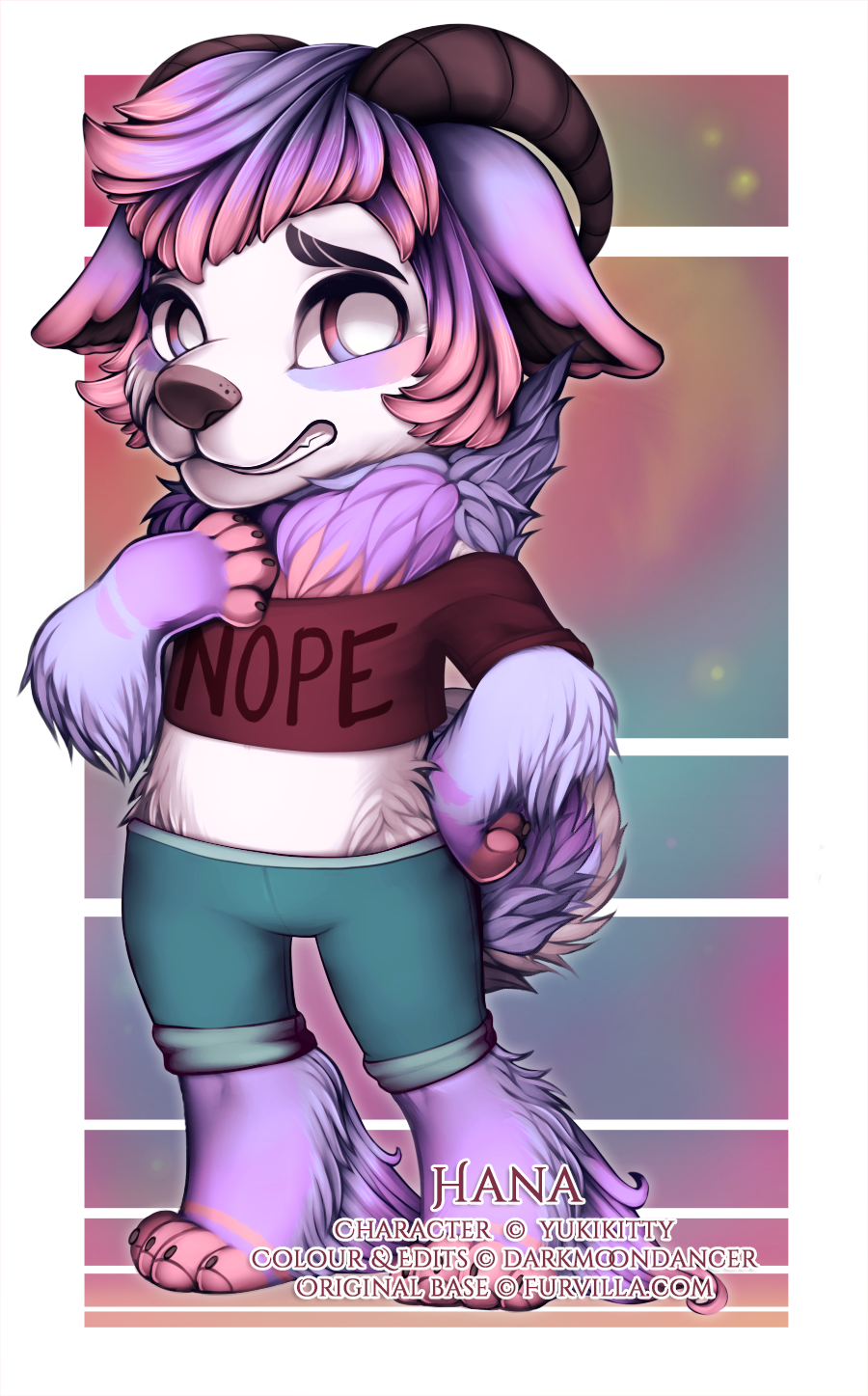 This is Hana (c) YukiKitty, and I got to do the colours as well as edit in the hair, horns, ears, expression change, shirt, pants, foot fluff and alteration to the tail!
