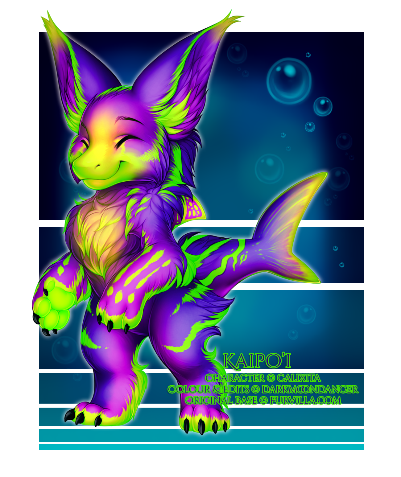 This is Kaipo'i (c) Calixita, and I got to do her colouring and add in her claws! (Based on a real neon fishie! Really cool!)