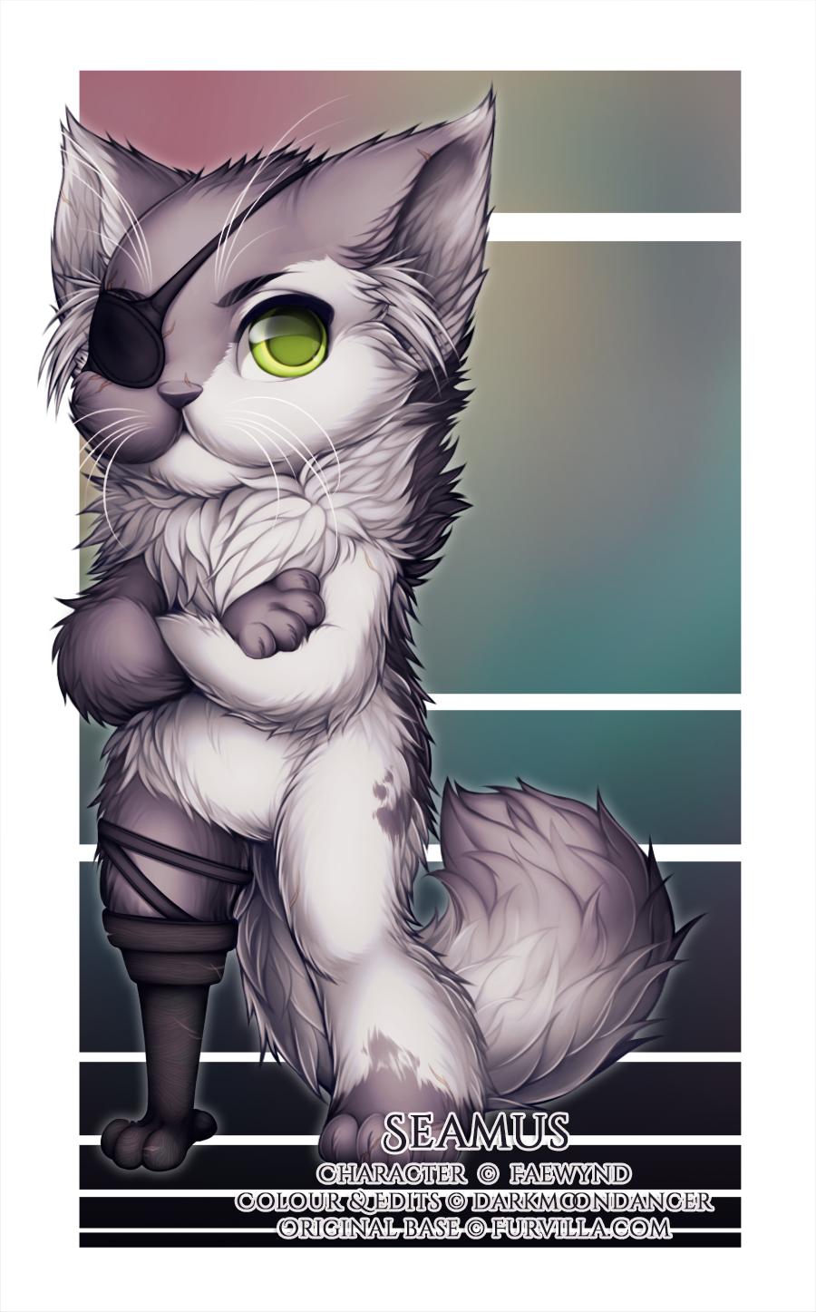 This is Seamus (c) Faewynd, and I got to do his colours as well as edit in the eyepatch and pegleg!