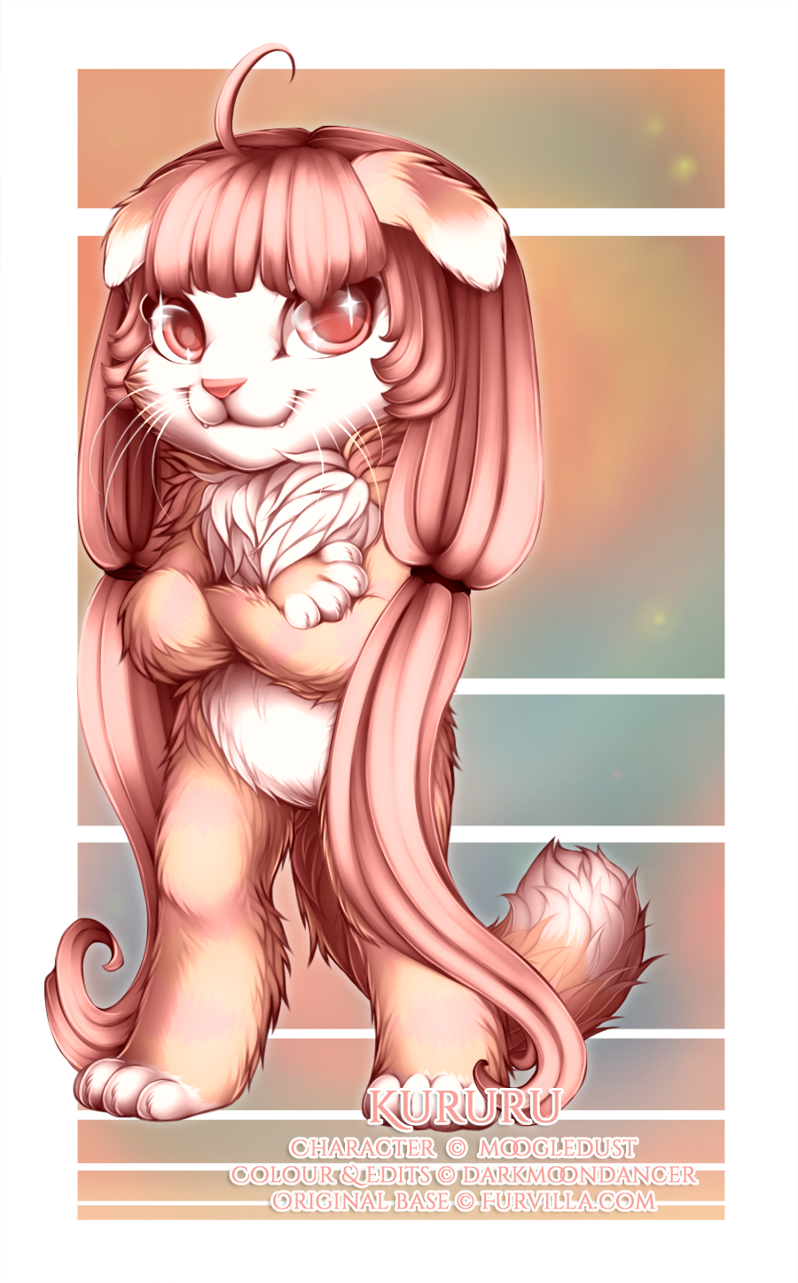 This is Kururu (c) MoogleDust, and I got to colour her as well as edit in this amazing anime hair and eye sparkles for extra kawaii-dosage ;)