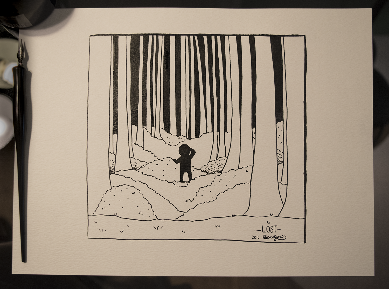 Original piece as shown. Black ink, on 9x12inches 90lb acid-free white paper.