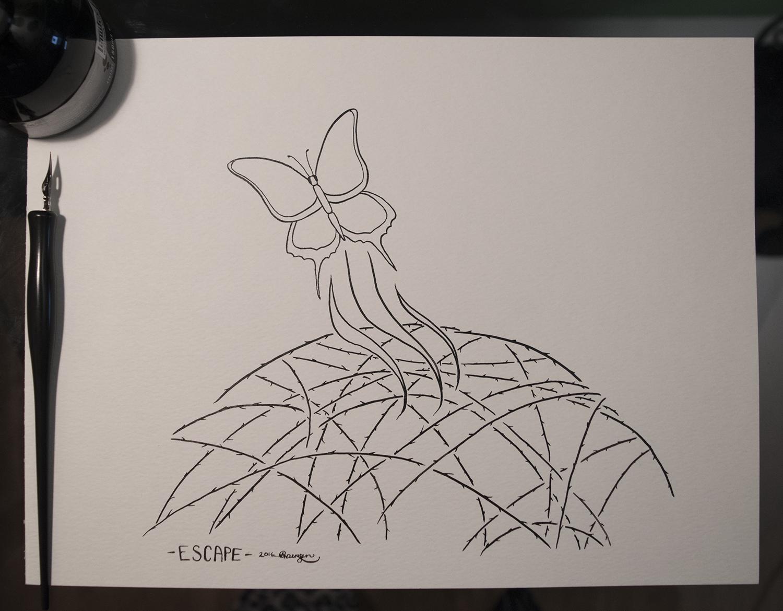 Original piece as shown, black ink on white 90lb paper, 9x12