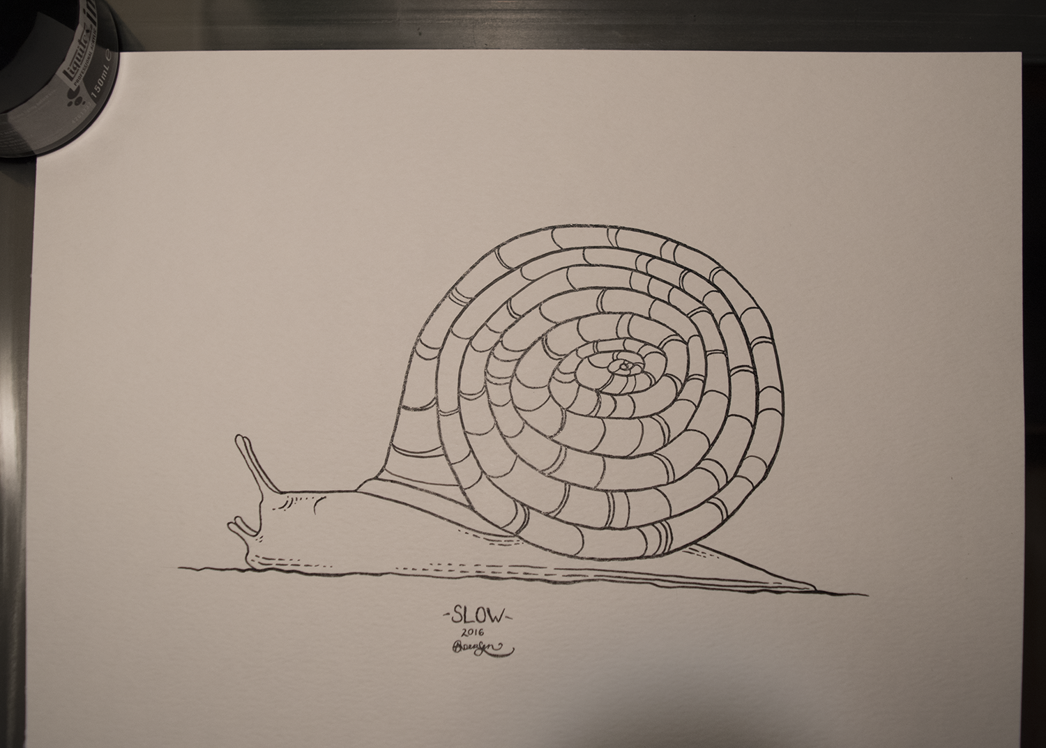 Original piece as shown (apologies for the shadow at the bottom), black ink on white 90lb paper, 9x12
