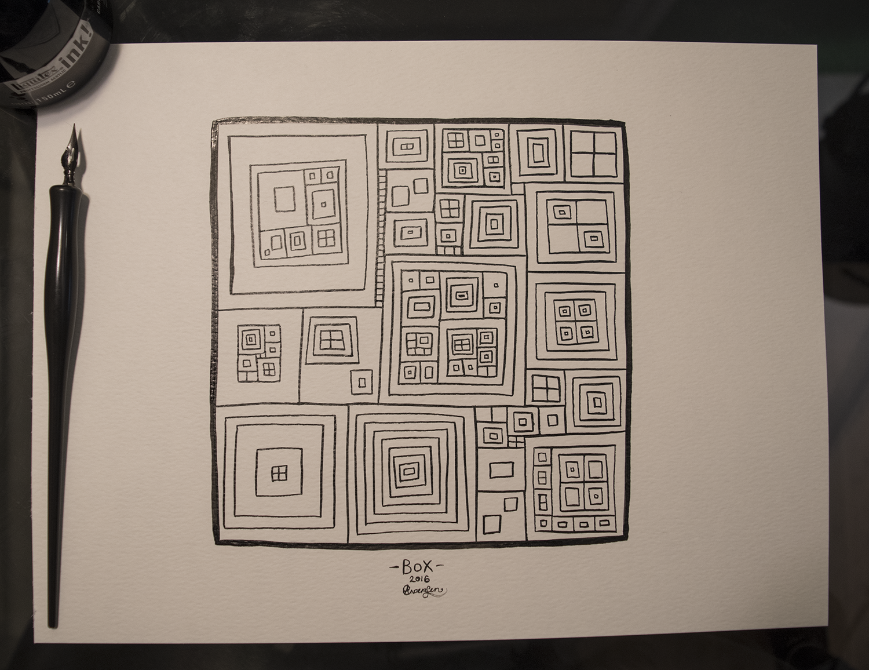 Original as shown, black ink on white 90lb paper, 9x12