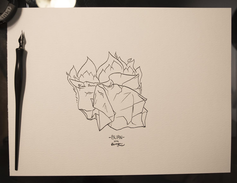 Original piece as shown, black ink on white 90lb paper, 9x12.