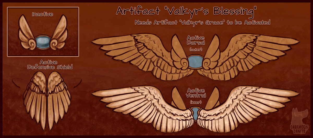 This is Valkyr's Blessing, a mighty set of copper wings that will deflect attacks or offer flight to the user.
