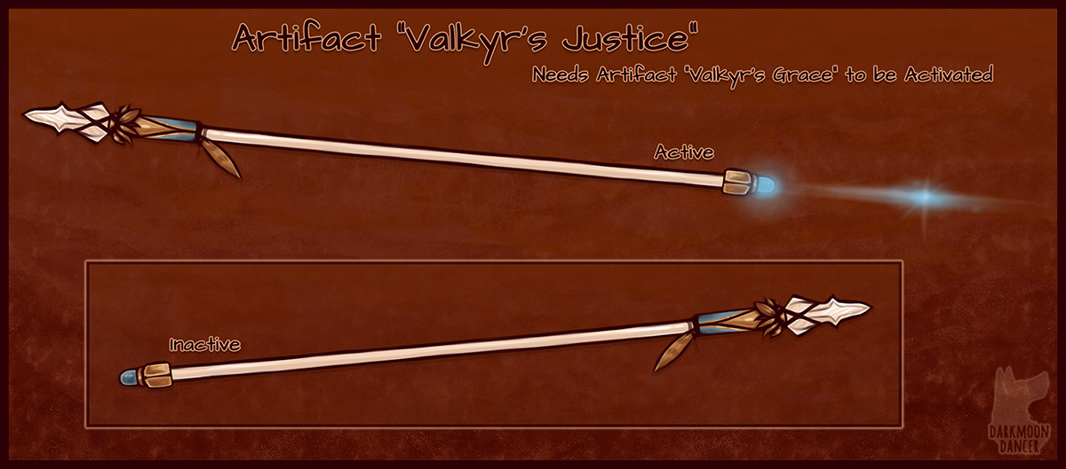 This is Valkyr's Justice, a swift and sturdy long-spear that can gain a ranged attack, perfect for pairing with a set of flight-ready wings.