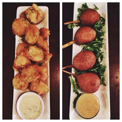 Fried pickles on the left, lobster corn dogs on the right.