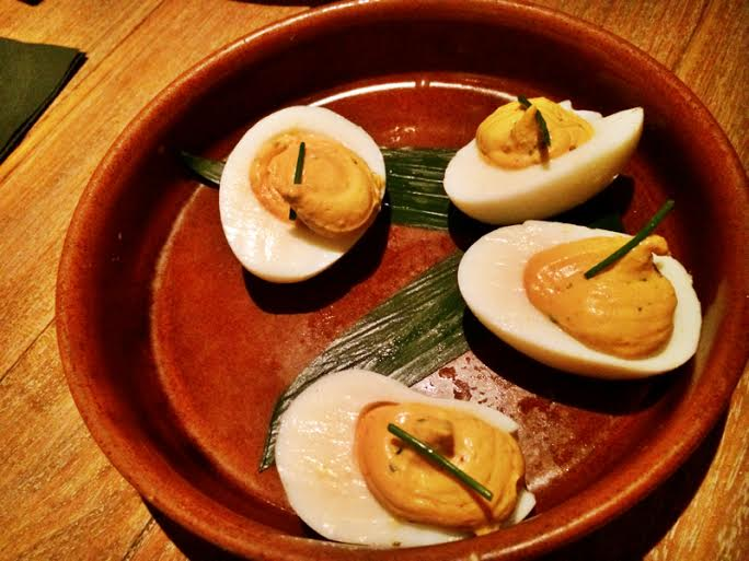 Deviled Fresh Farm Eggs ~ Smoked Sea Salt ~ Espelette