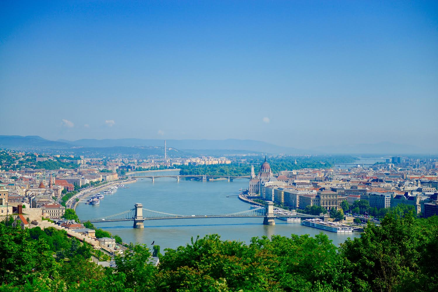 Buda on the left, Pest on the right.