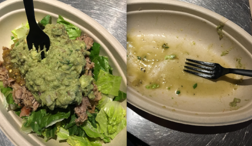 A Whole30 compliant meal at Chipotle. I clearly hated it.