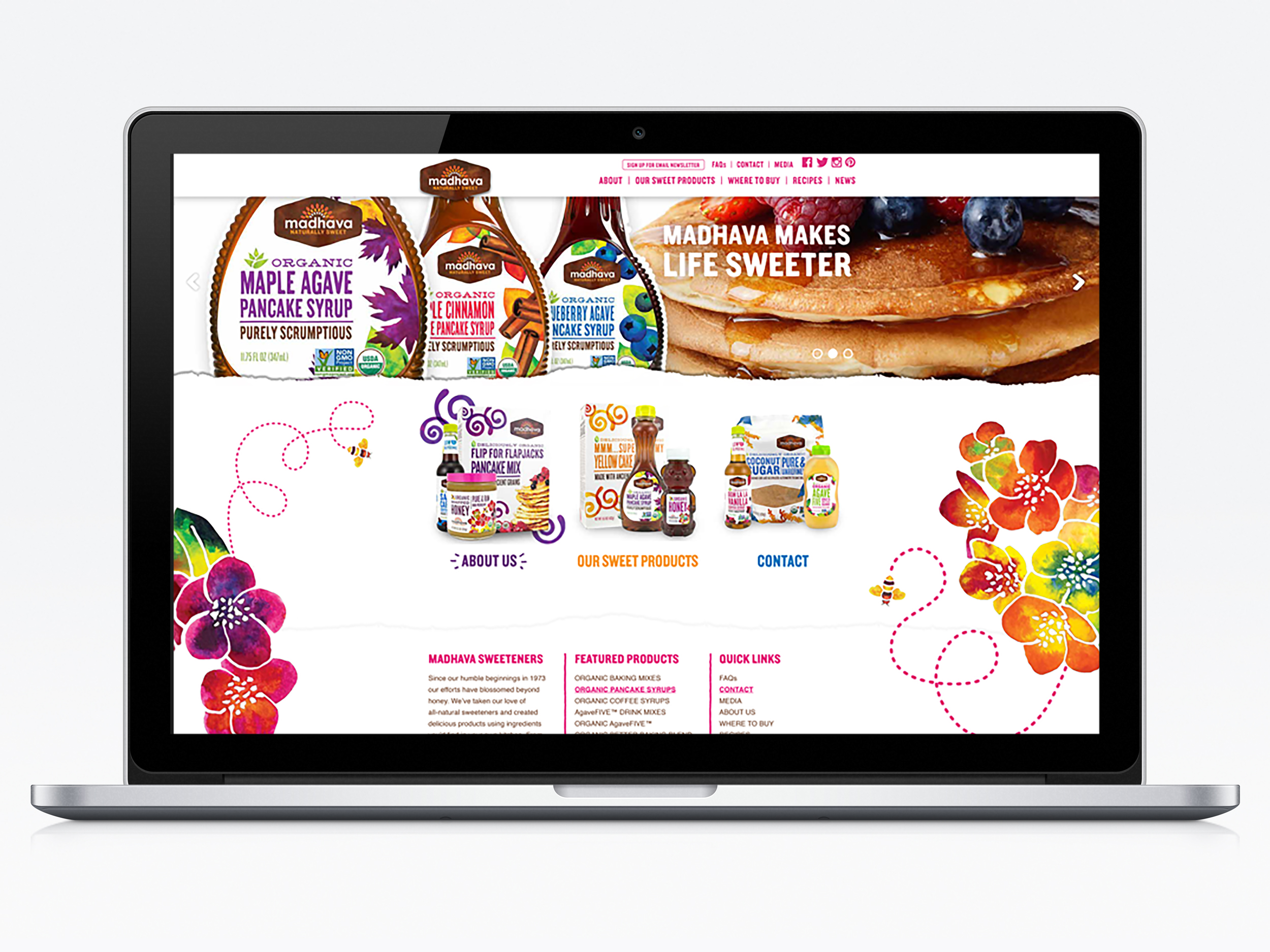 Madhava Natural Sweeteners  Marketing, packaging & webdesign