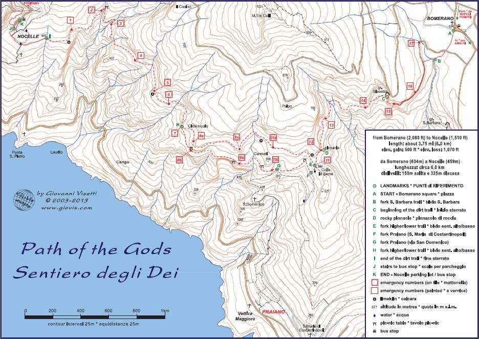 Map of the Path of Gods (Sentiero degli Dei)