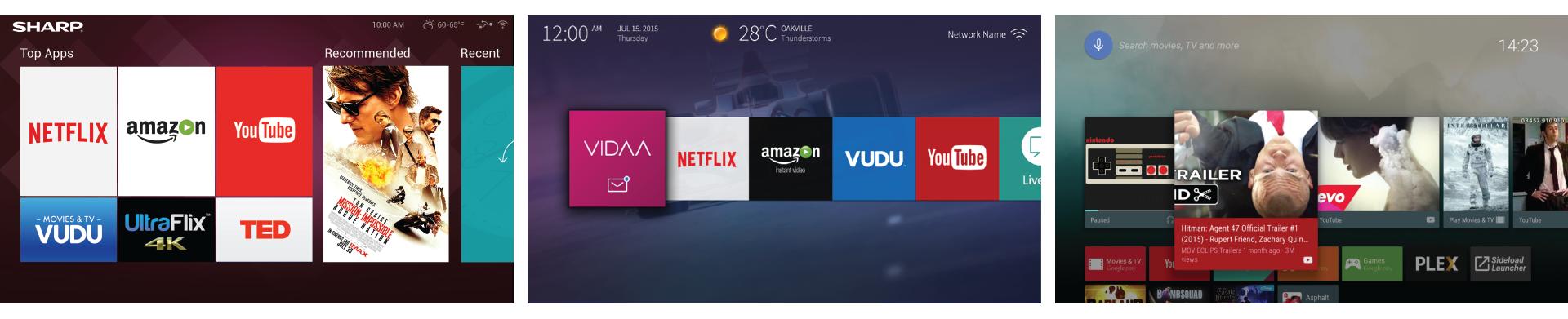Left: Hisense-designed Sharp UI 2016, Hisense VIDAA U2 (expected H2 2016), Android TV