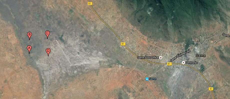 A satellite image showing the town of Same and the future location of the Same Polytechnic College campus to the east indicated by the four pins A through D.