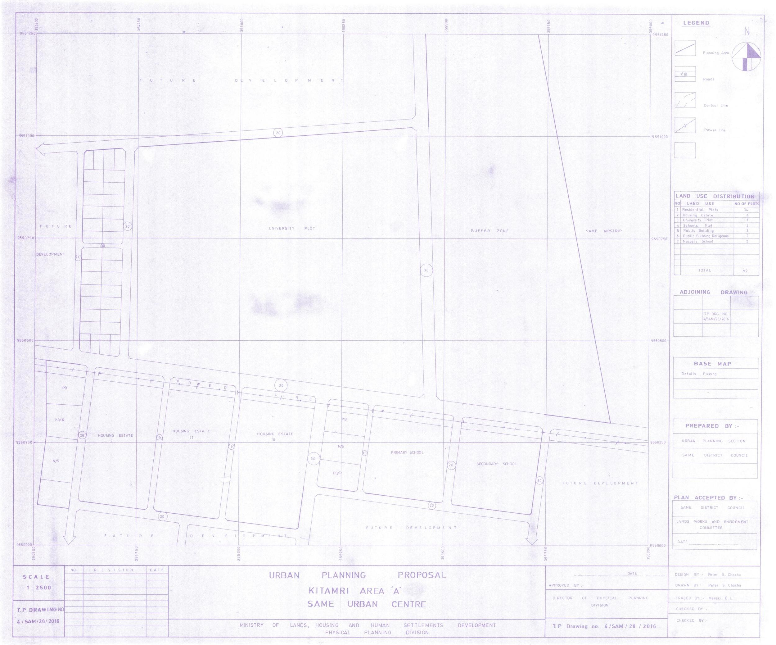 """The urban planning proposal drawing from the District Land Office of Same showing the future location of the Same Polytechnic College marked as """"UNIVERSITY PLOT""""."""