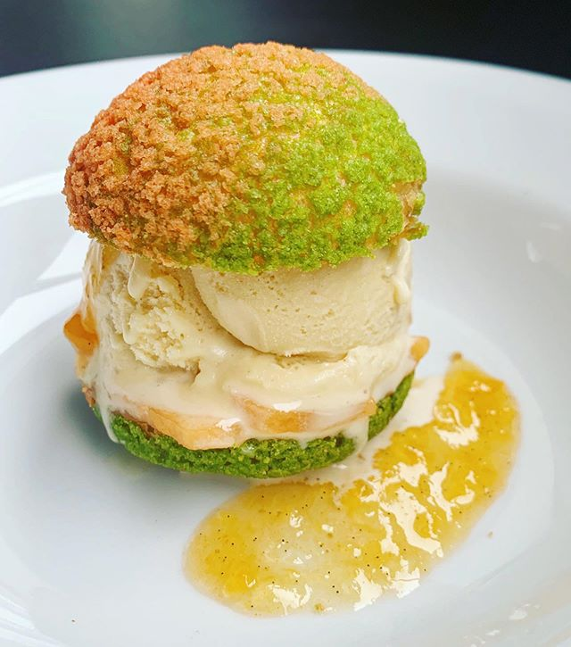 Oregon melons are coming off the vine! Try our melon jam profiterole with nutty brown butter ice cream, vanilla and fresh & local cantaloupes from @stoneboat_farm #craquelin