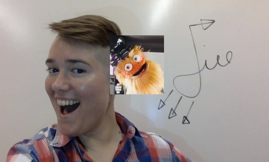 Image description: Jill Raney wearing a red, white, and blue plaid shirt and grinning in front of a white board drawing of their campaign logo, with a picture of Gritty grinning superimposed next to Jill.
