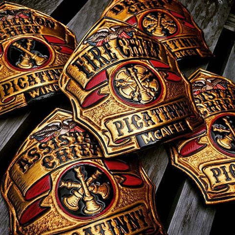 Picatinny Arsenal Fire Department,. New Jersey. 23.75k Gold Leaf with antiqued finish. Phenix Fit on Herman Oak Leather. Super cool bunch of shields to make. Thank you gentlemen! I trust they will serve you well.    TryWorks Leather Co. Bespoke Fire Helmet Shields of the highest quality. Handcrafted in Maine.