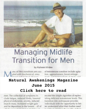 "Andropause - Transitioning into Midlife for Men - In this article, Dr. Virdee discusses common causes of ""andropause"", the syndrome that includes symptoms of lowered stamina, libido, energy and mild depression at midlife. She also discusses ways to improve hormonal balance naturally."