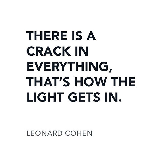 """Perfection is an illusion and for good reason! Quotes to live by: """"There is a crack in everything, that's how the light gets in."""" #leonardcohen #quotestoliveby #realestatedesign #realtorsofinstagram"""