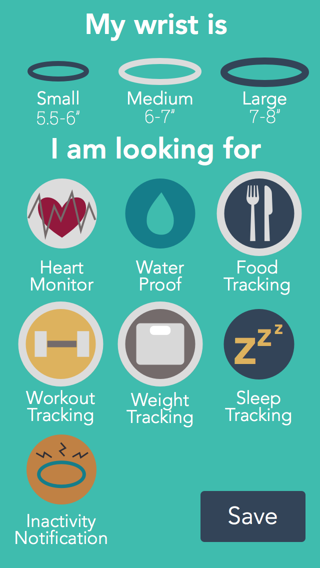 Preference profile example : shopping fitness band