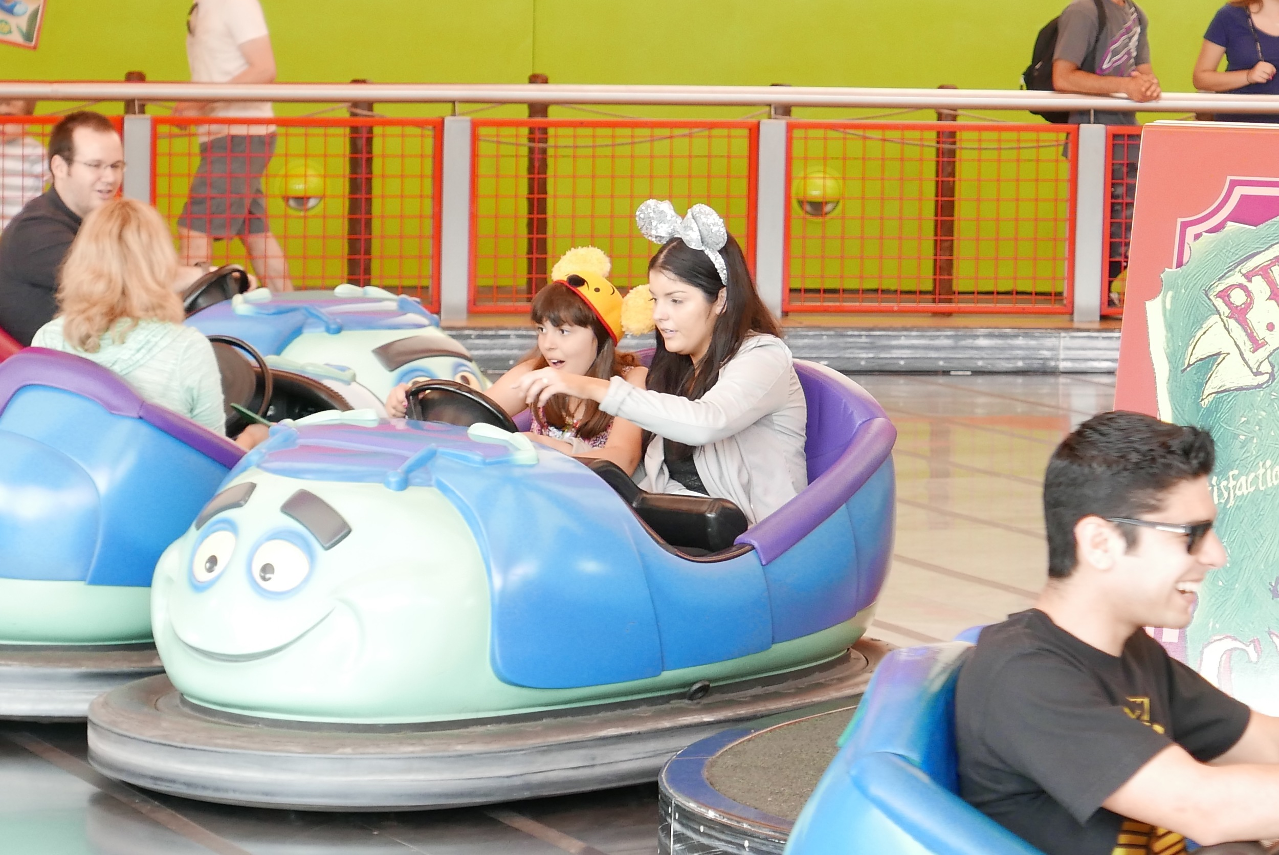 me and my sister on the bumper cars