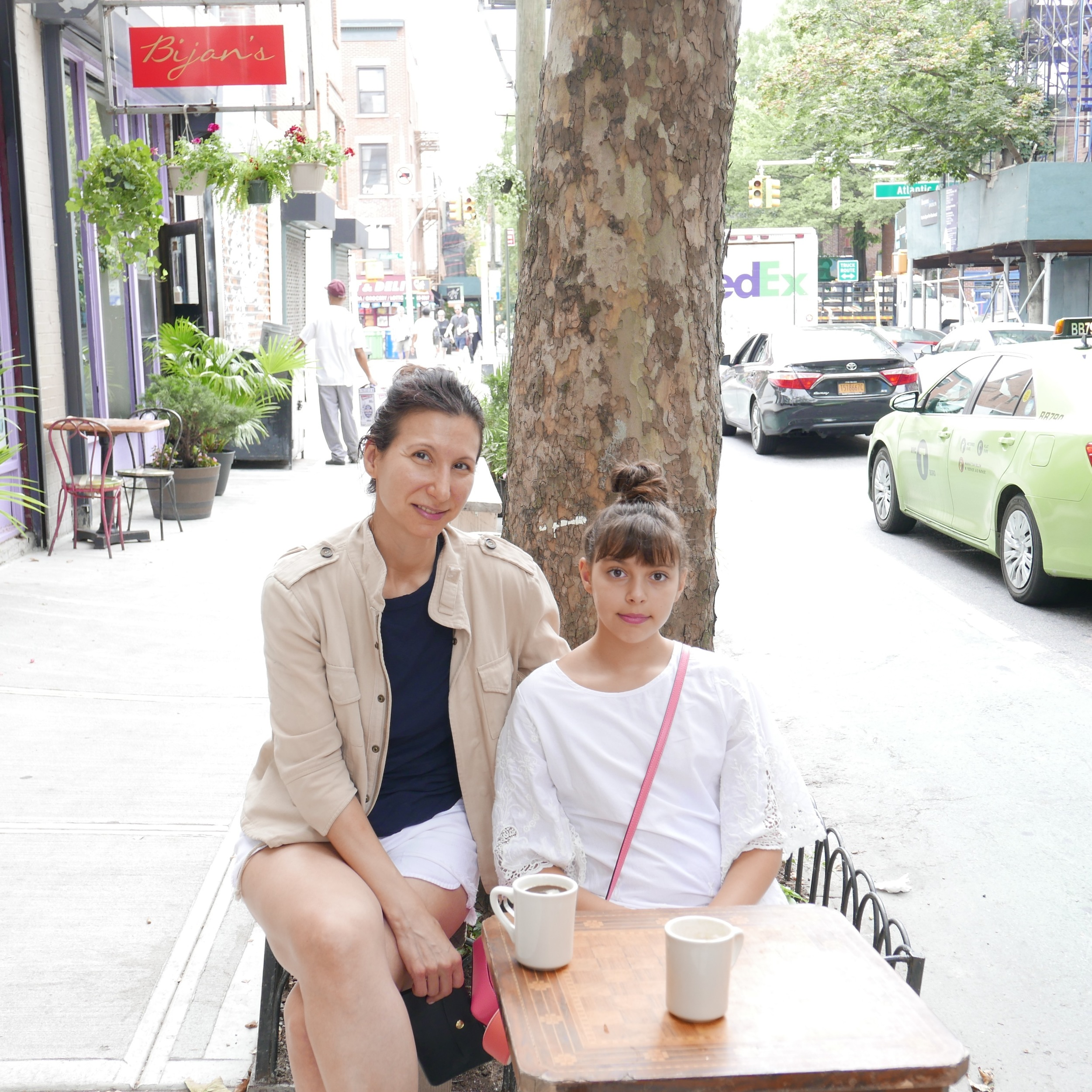 Waiting for breakfast, with my Aunt Rena